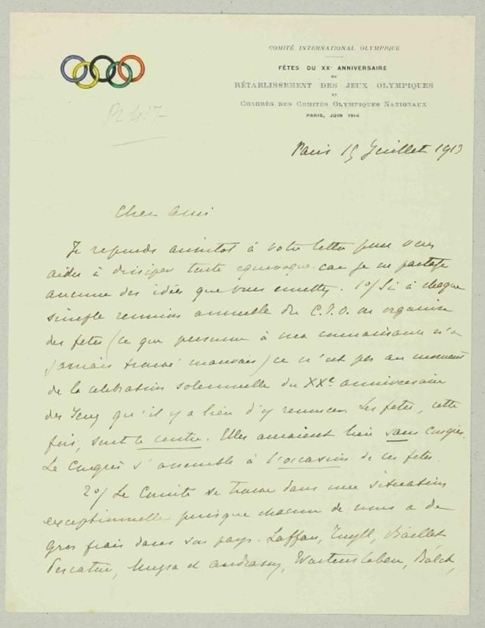 Lettre de Pierre de Coubertin pour les Jeux Olympiques